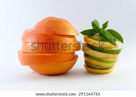 fresh grapefruit and lemon sliced   - stock photo