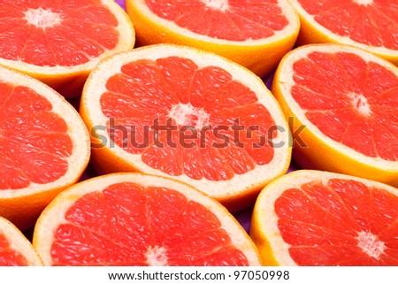 fresh grapefruit background - stock photo