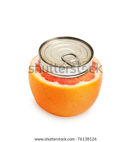 Fresh grapefruit isolated can fruit concept.