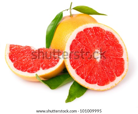 fresh grapefruit with leaves isolated on white background