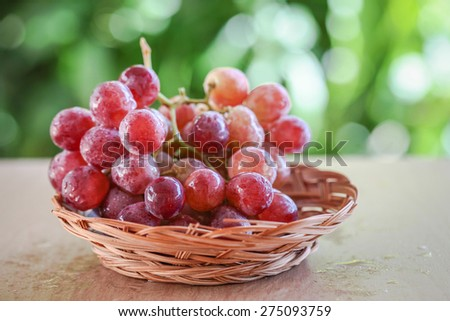 fresh grapes with blurred background effect of trees in a park. the image is suitable for fresh concept - stock photo