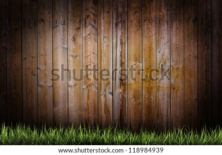 Fresh grass over a wooden grunge background - stock photo