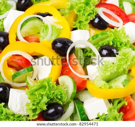 fresh greek salad, close-up - stock photo