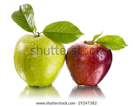 fresh green and red apple with water drops - stock photo