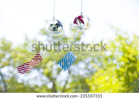 Fresh green and wind chimes - stock photo