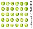 Fresh green apple alphabet. Part of the collection. - stock photo