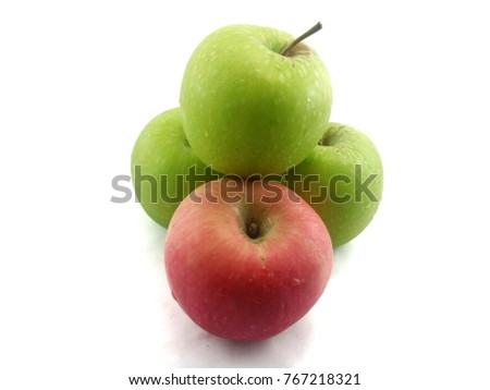 Fresh green apple and red apple with isolated white background