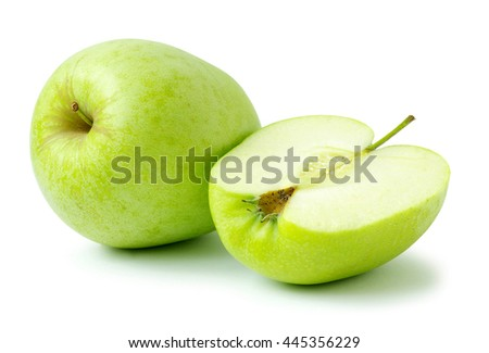 fresh green apple isolated on a white - stock photo