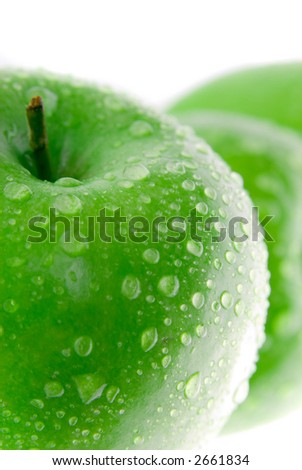 Fresh green apple isolated on white - stock photo