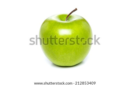 Fresh green apple, isolated on white background - stock photo