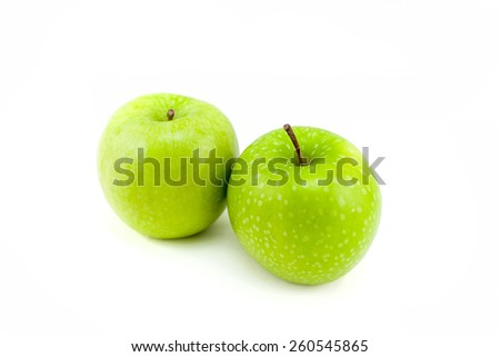 Fresh green apple isolated on white background.