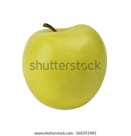 Fresh green apple isolated on white background without shadows.
