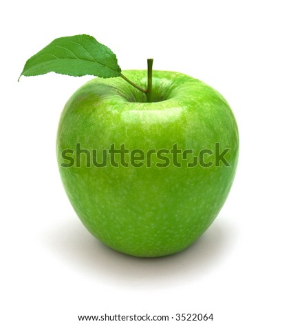 fresh green apple with green leaf - stock photo
