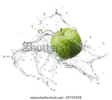 fresh green apple with water splash on white background