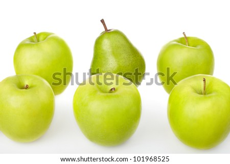 fresh green apples and pears on white background
