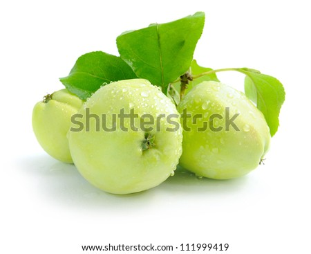 Fresh green apples are on a white background - stock photo