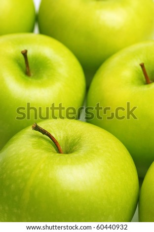fresh green apples close-up - stock photo