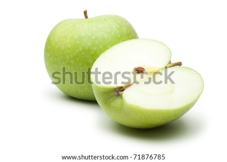 fresh green apples isolated over white background