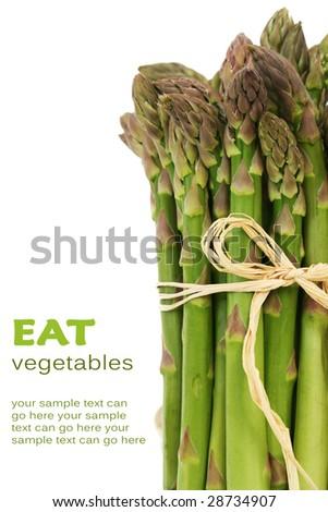 Fresh, green asparagus bunch close-up - stock photo
