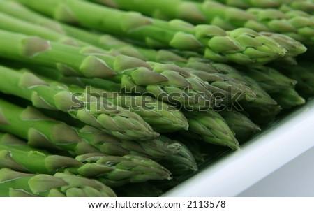 Fresh green asparagus, macro close up - stock photo