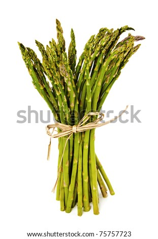 Fresh Green Asparagus tied with raffia on white background. - stock photo