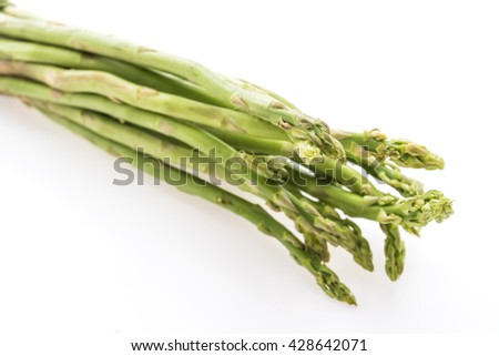 Fresh green Asparagus vegetable isolated on white background - Healthy food style concept