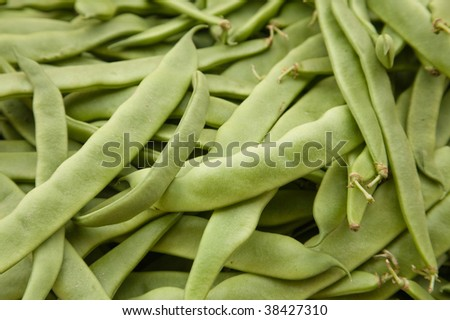 Fresh green beans at a farmers' market