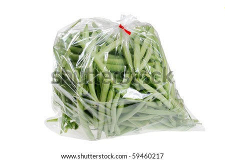 fresh green beans in a bag - stock photo