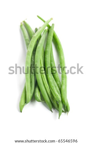 fresh green beans isolated on white - stock photo