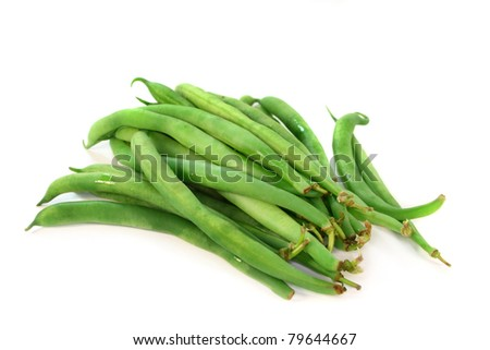 fresh green beans on a white background