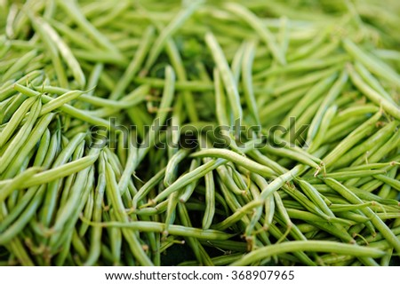 Fresh green beans on Paris farmer agricultural market  - stock photo