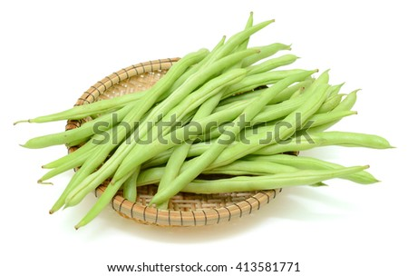 fresh green beans (Phaseolus vulgaris) isolated on white background - stock photo