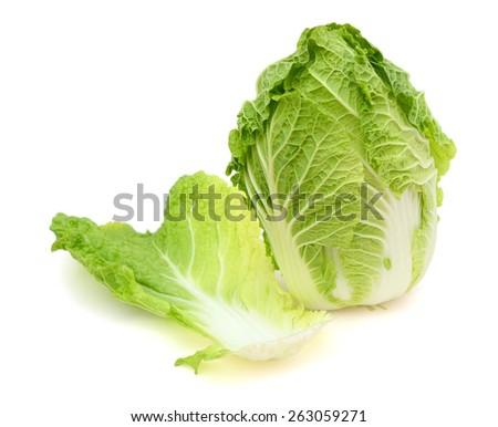 fresh green cabbage on white background  - stock photo