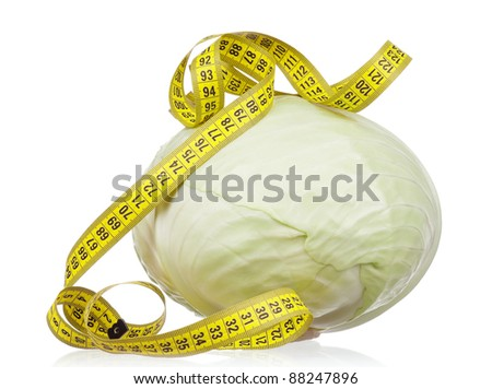 Fresh green cabbage vegetable with measure tape on white background