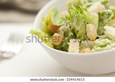Fresh green Caeser Salad with croutons and cheese