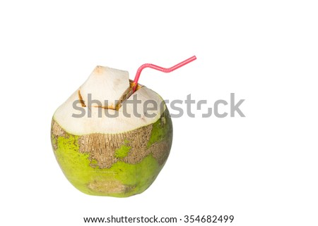 Fresh Green coconuts with drinking straw isolated on white background - stock photo