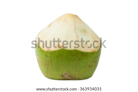 Fresh Green coconuts with drinking straw on white background - stock photo
