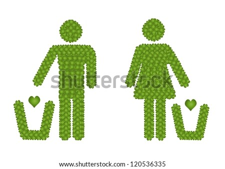 Fresh Green Four Leaf Clover Forming A Man and A Woman Throwing A Hearth into A Trash Can Icon, Isolated on White Background - stock photo