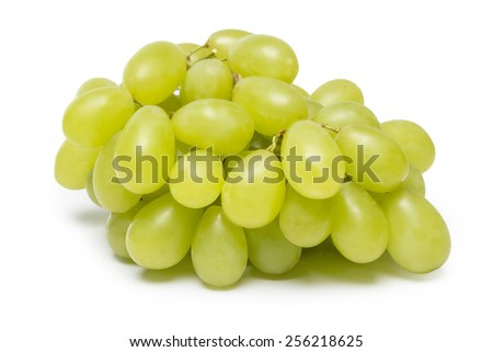 fresh green grapes isolated on white background - stock photo