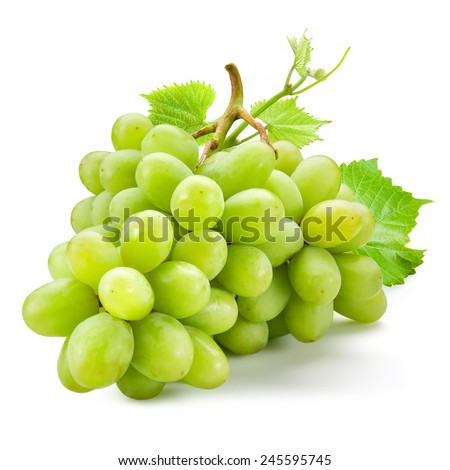Fresh green grapes with leaves. Isolated on white - stock photo
