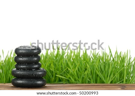 Fresh green grass and zen stone,Isolated on white. - stock photo
