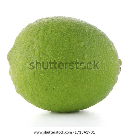 Fresh green lime isolated on white background.