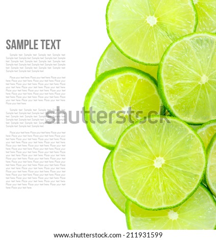 fresh green limes isolated on white background - stock photo
