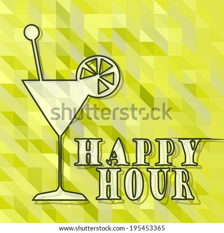 fresh green low poly triangle happy hour symbol with abstract background