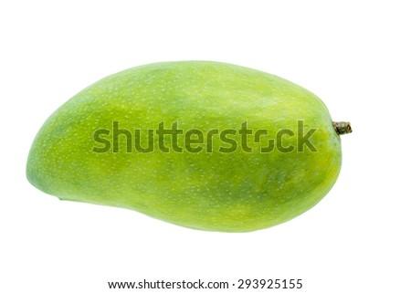 fresh green mango fruit isolated on white background - stock photo