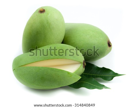 Fresh green mango on white background