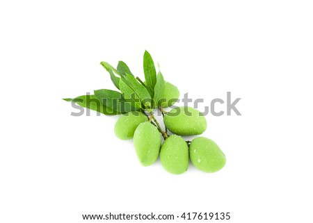 Fresh green mango with drop water isolated on white background