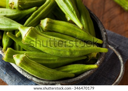 Fresh Green Organic Okra Ready to Use