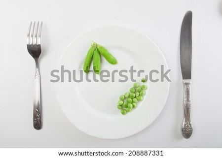 Fresh green pea - stock photo