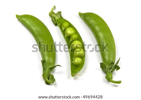 Fresh green pea in the pod isolated on white background - stock photo